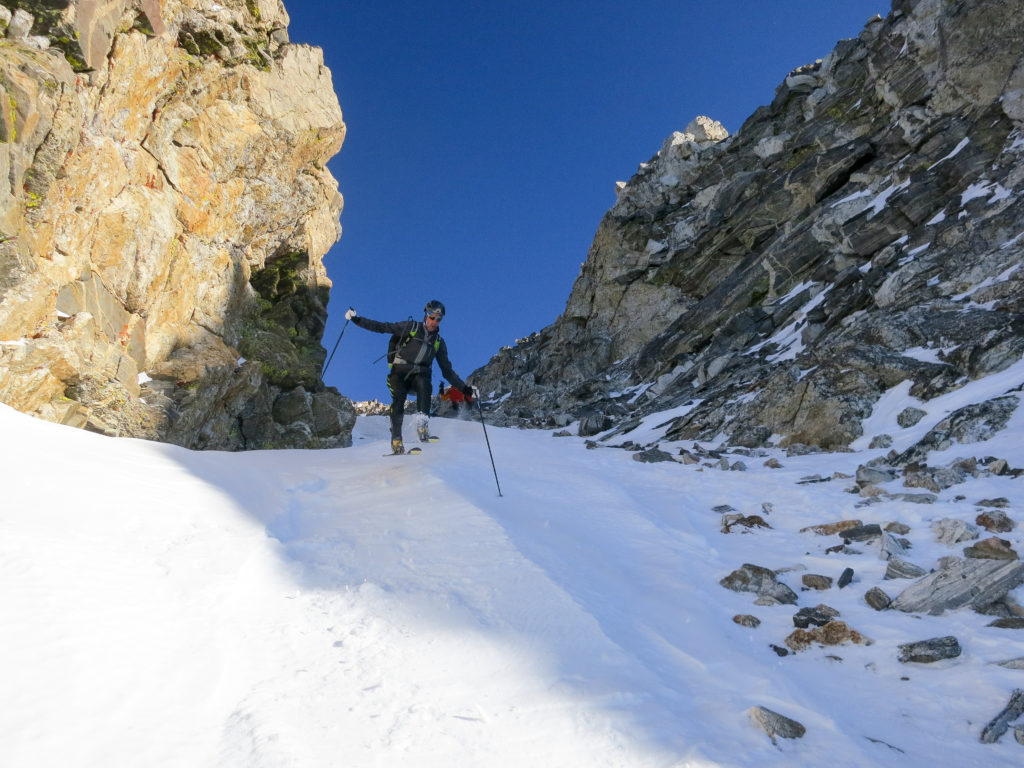 Tom Goth and Jason Dorais rallying down the NW Couloir on the South Teton en route to the Middle