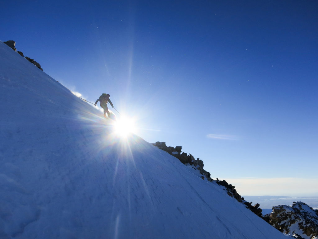 Tom Goth skiing the lower slopes of the Middle Teton. Photo by Andy Dorais