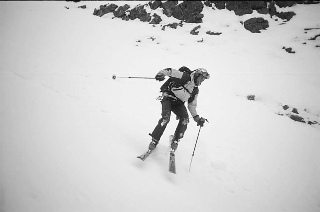 Steep skiing in the Arctic