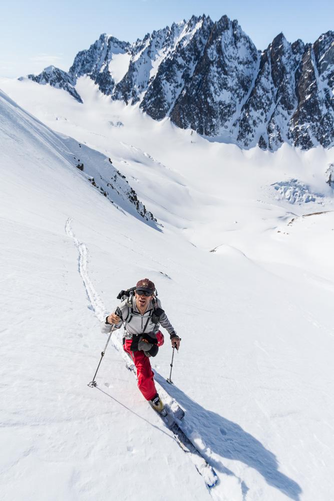 Andrew McLean skins up an unnamed peak in Alaska