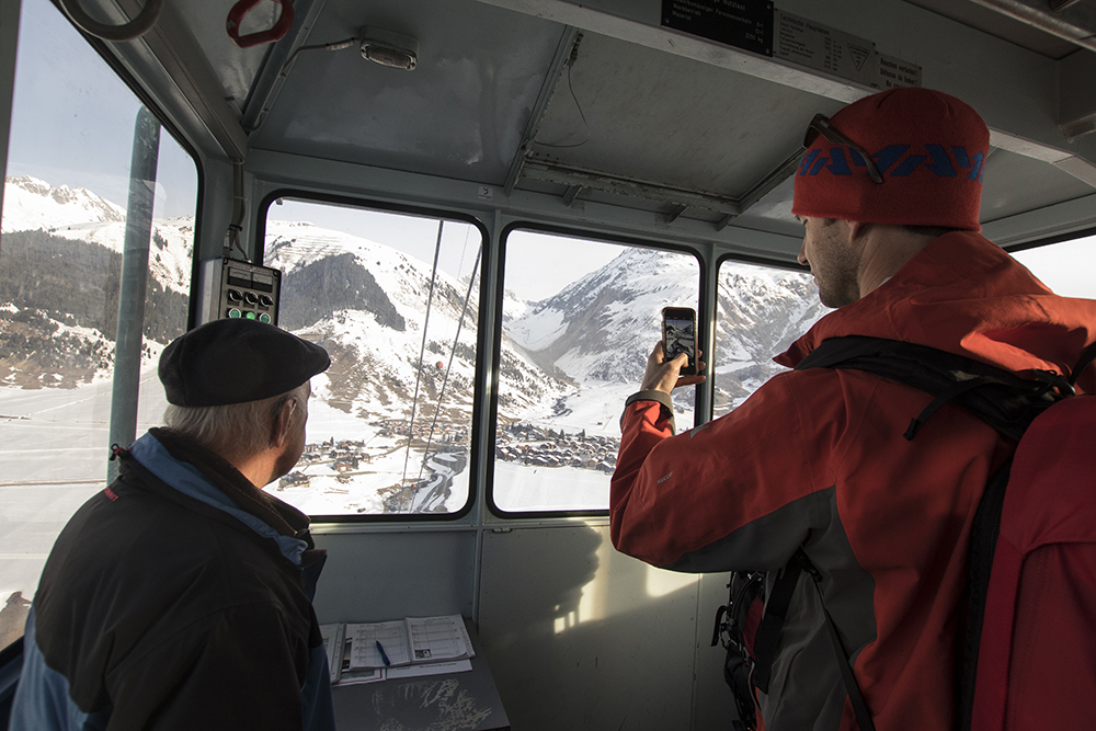 John Trousdale on a utility tram that access terrain on the other side of the valley from Disentis