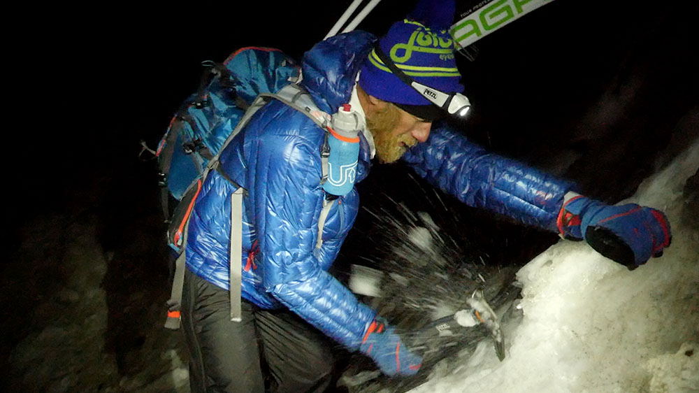 Scott Simmons working through the icefall outside Ouray-1